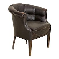 Antique Vintage Leather Barrel Shaped Small Scale Arm Chair