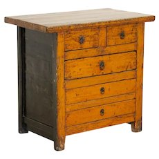 Antique Original Orange Painted Lacquered Nightstand Small Chest of Drawers, China