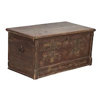 Antique Original Painted and Hand Carved Trunk, Great Small Coffee Table