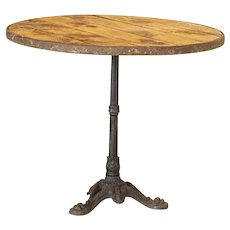 Vintage Round Bistro Table with Black Cast Iron Base