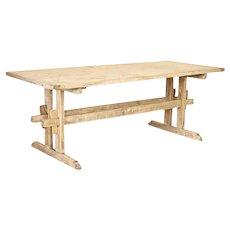 Antique Farm Trestle Table Primitive Dining Table