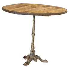 Vintage Round Bistro Table with Decorative Cast Iron Base