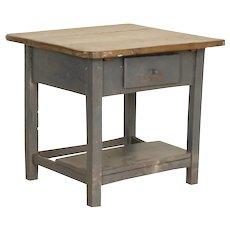 Vintage Original Gray Painted Side Table Nightstand with Drawer and Shelf