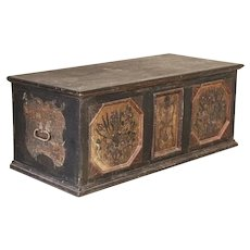 Antique Large Original Hand-Painted Trunk Blanket Chest with Panels and Floral Details