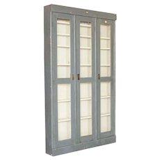 Antique Gray Painted Very Narrow 3 Door Cabinet Bookcase