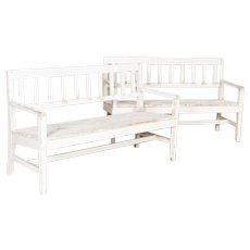 Pair, Antique White Painted Narrow Benches from Sweden