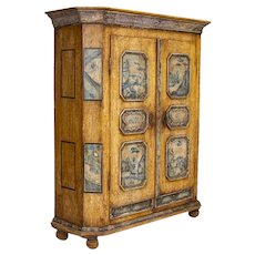 Exceptional Antique Original Painted Armoire with Blue Figures, Germany dated 1795