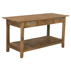 Antique Farm Work Table with Shelf