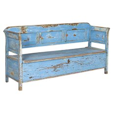 Antique Original Blue Painted Bench with Storage