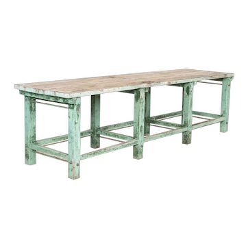 Antique Long Industrial Work Table With Original Green Painted Base