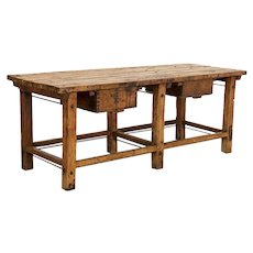 Antique Large Industrial Work Table Butchers Table Kitchen Island with Two Deep Drawers