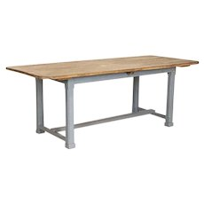 Antique Farm Table Primitive 7' Dining Table with Gray Painted Base and Natural Pine Top