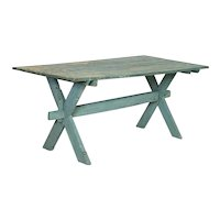 Antique Original Blue/Green Painted Farm Table