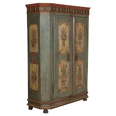 Antique German Two Door Armoire With Original Blue Paint Dated 1808