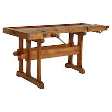 Antique Danish Carpenters Workbench Work Table