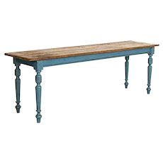 Antique Long Original Blue Painted Farm Table Dining Table