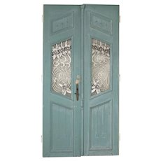 Pair, Original Blue Painted Antique Doors With Decorative Iron Flowers and Scroll work