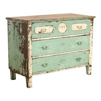 Antique Original Seafoam Blue Painted Chest of Drawers With Vintage Appeal