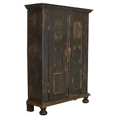 Antique Original Hand-Painted Primitive Armoire