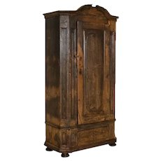 Antique Tall Single Door Armoire w/drawer