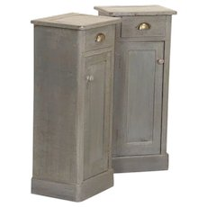 Pair, Antique Small Narrow Original Gray Painted Nightstands