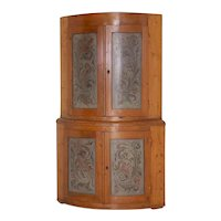Antique Large Bow Front Original Painted Corner Cabinet Cupboard, Sweden