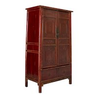 Antique Red Lacquered 2 Door Chinese Armoire