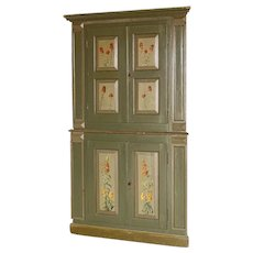 Antique Green Painted Corner Cabinet With Flowers in Panels