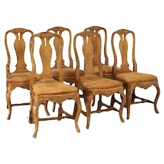Set of 6 Antique Swedish Rococo Dining Chairs