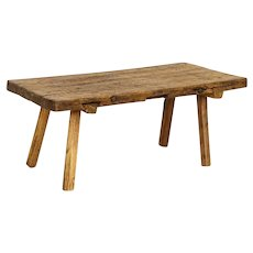 Antique Thick Plank Coffee Table With Splay Legs