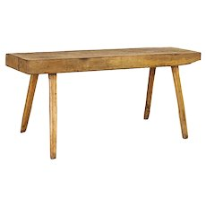 Antique Splay Leg Thick Slab Wood Console Table