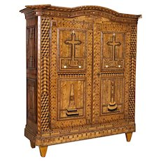 Antique Highly Inlaid Marquetry 2 Door Armoire