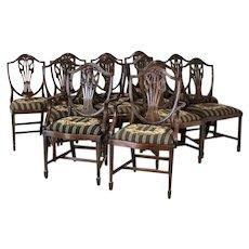 Antique Set of 12 English Mahogany Shield Back Dining Chairs