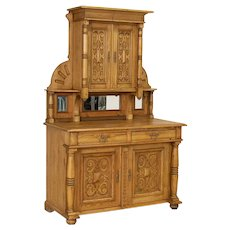 Antique Highly Carved Pine Cupboard Cabinet Buffet from Denmark