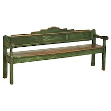 Antique 6.5' Long And Narrow Original Green Painted Bench