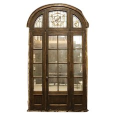 Antique Tall Glass French Doors With Stained Glass Arched Transom With Fleur De Lis