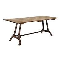 Vintage Farm Table Dining Table With Industrial Iron Legs And Stained Wood Top