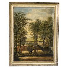 Antique Original Oil on Canvas Painting of Danish Village, Signed CR 1890