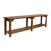 Antique 10' Long Red Painted Primitive Work Console Table With Shelf
