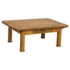 Antique Rustic Pine Coffee Table With Single Drawer