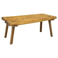 Antique Rustic Butchers Top Slab Wood Coffee Table