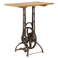 Vintage Industrial Tall Side Table With Cast Iron Gear Base