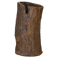 Vintage Rustic Wood Container Made From Tree Trunk