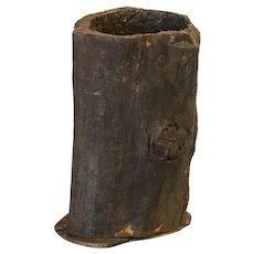 Large Vintage Wood Container Made From Hollowed Out Tree Trunk