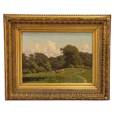 Antique Original Oil on Canvas Painting of Elk in Meadow, signed by Carl Bartsch