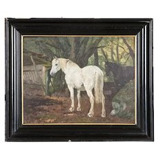 Antique Oil on Board Painting of White and Bay Horses in Turnout, Signed Simon Simonson