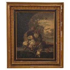 Original Oil on Canvas Still Life, Basket of Flowers circa 1800's