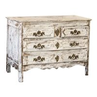 Antique French White Painted Oak Chest of Drawers With Four Drawers