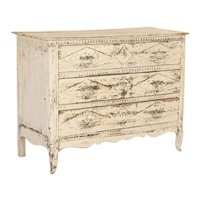 Antique White Painted Chest of Drawers from France