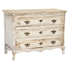 Antique French Oak Painted Chest of Drawers With Cabriolet Feet